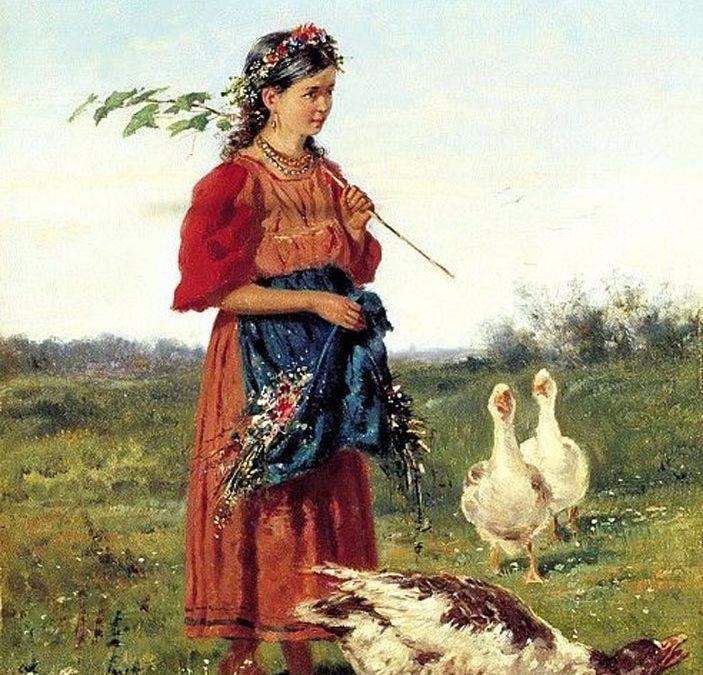 A Girl with Geese by Vladimir Makovsky 1875.