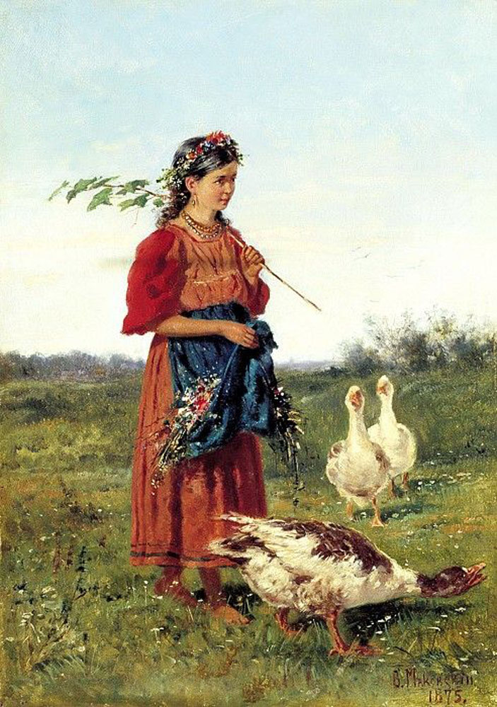 A Girl with Geese by Vladimir Makovsky 1875.