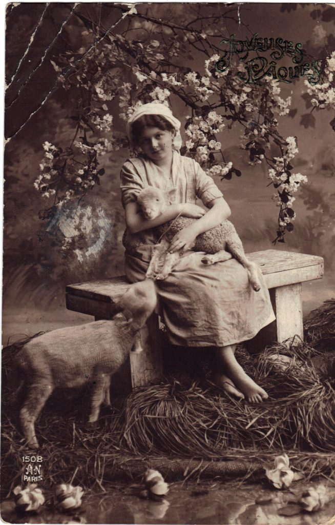 Postcard Girl with Lamb from Roza 1913