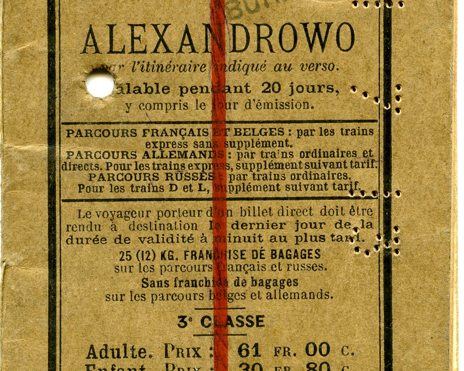 Polya's Train Ticket cover. From Paris to Alexandrowo