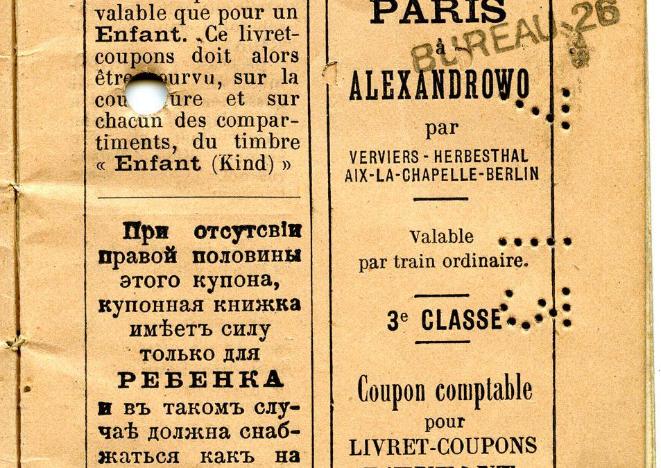 Polya's Train Ticket Paris to Alexandrowo 1913 p05