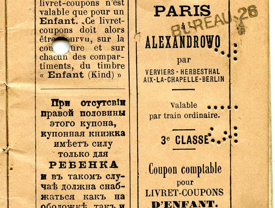 Polya's Train Ticket Paris to Alexandrowo 1913 p05
