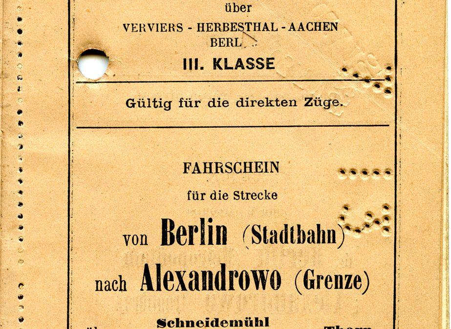 Polya's Train Ticket Paris to Alexandrowo 1913 p11