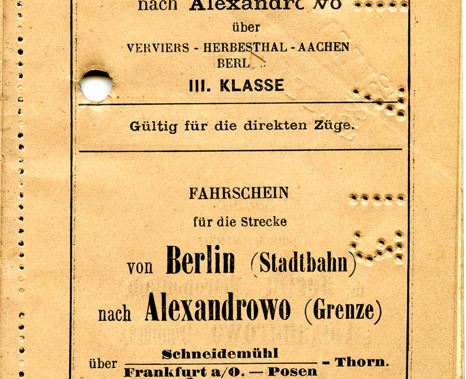 Polya's Train Ticket Paris to Alexandrowo 1913 p11