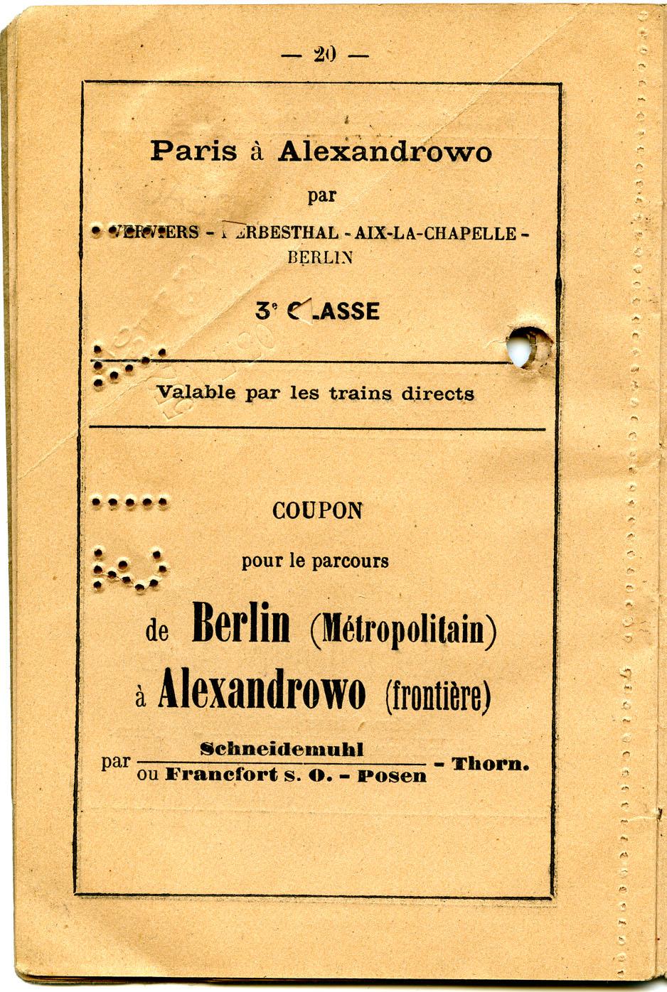 Polya's Train Ticket Paris to Alexandrowo p12