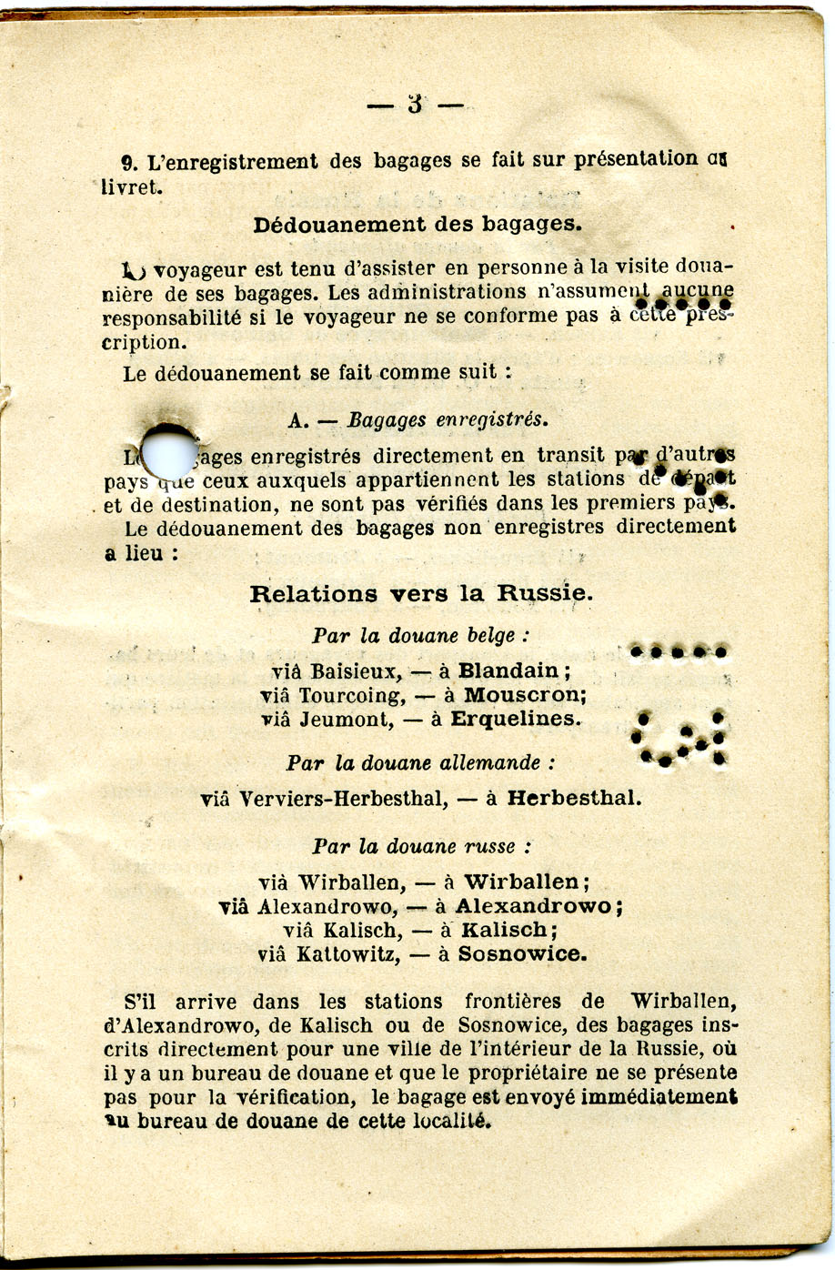 Polya's Train Ticket Paris to Alexandrowo 1913 p17