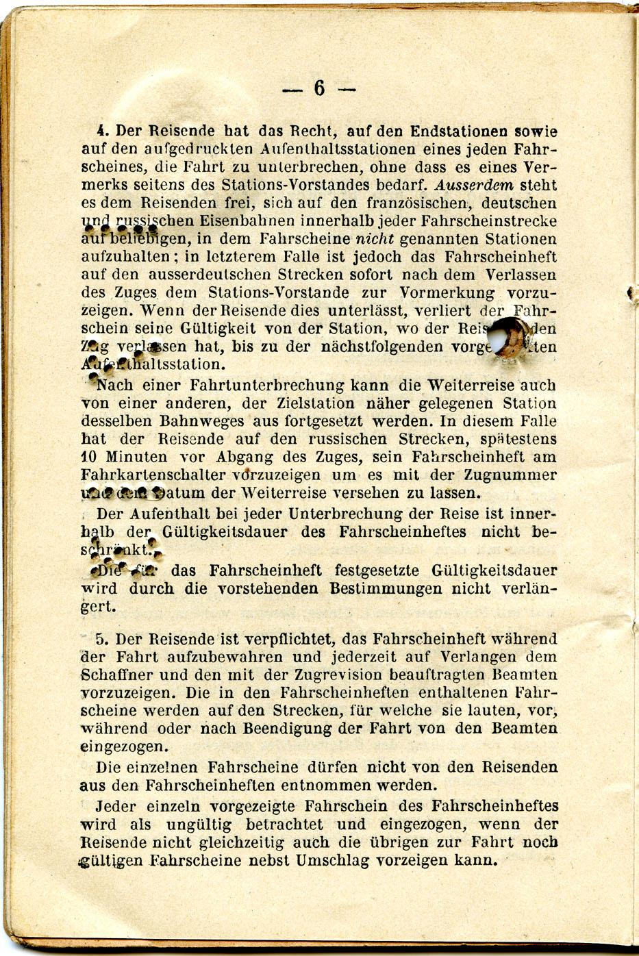 Polya's Train Ticket Paris to Alexandrowo 1913 p20