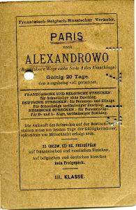 Polya's Train Ticket Paris to Alexandrowo 1913 p33