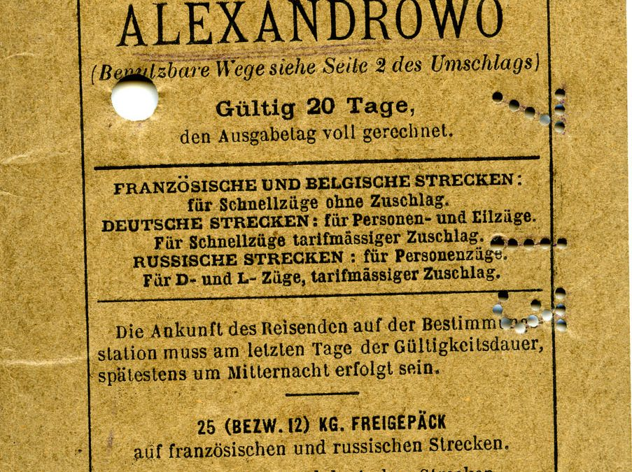 Polya's Train Ticket Paris to Alexandrowo 1913 p33