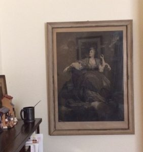 My desk and lithograph of Sarah Siddons as The Tragic Muse