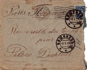 Letter to Poline from Aron March 1, 1914 enveloped A