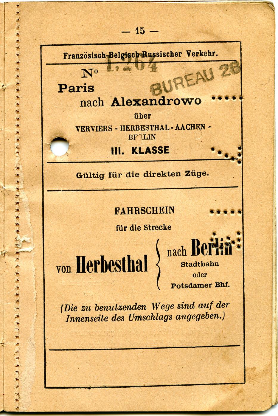 Polya's Train Ticket Paris to Alexandrovo 1913 p07